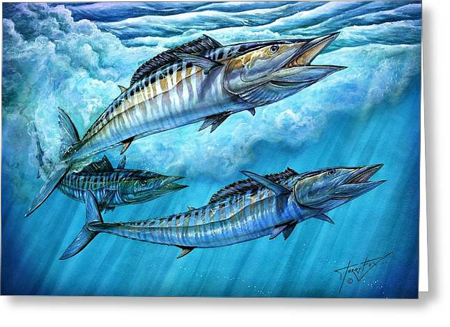 Mackerel Greeting Cards - Wahoo In Freedom Greeting Card by Terry Fox