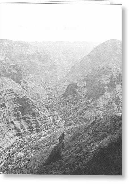 Western Pencil Drawings Greeting Cards - Waiamea Canyon Kauai Greeting Card by Frank Wilson