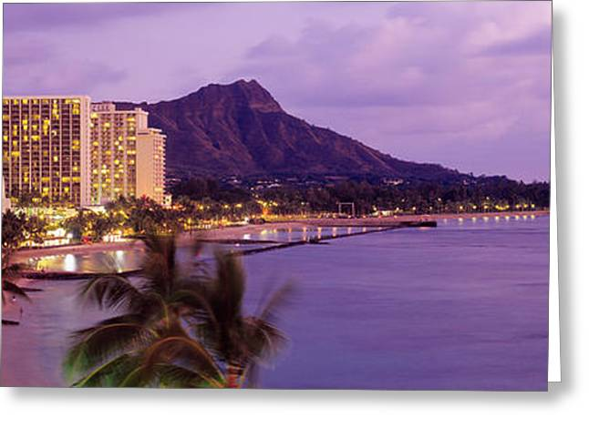 His Light Greeting Cards - Waikiki Beach, Oahu, Hawaii, Usa Greeting Card by Panoramic Images