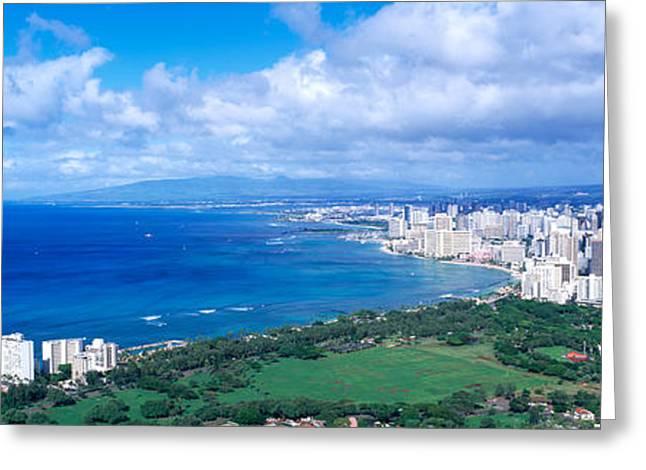 Urban Buildings Greeting Cards - Waikiki Honolulu Oahu Hi Usa Greeting Card by Panoramic Images