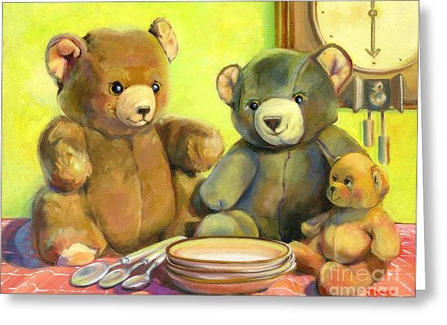 Porridge Greeting Cards - Waiting for Goldilocks Greeting Card by Joose Hadley