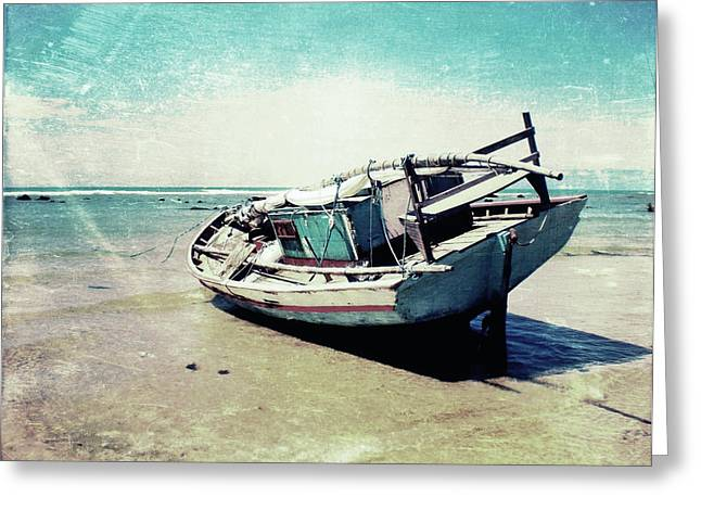 Textures Mixed Media Greeting Cards - Waiting for the tide Greeting Card by Nicklas Gustafsson