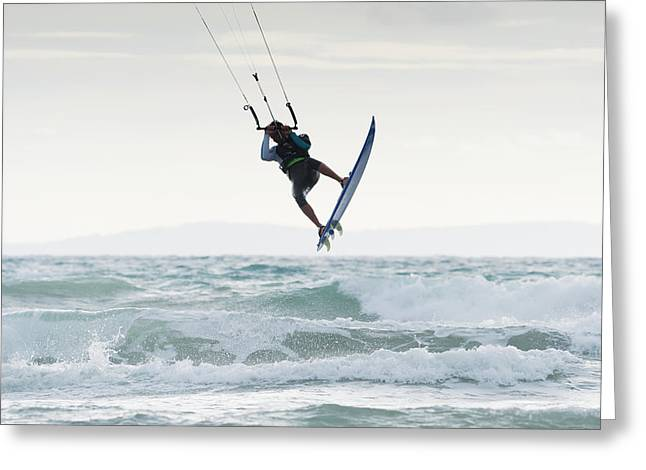 Kite Surfing Greeting Cards - Wakeboarding Dos Mares Beach Tarifa Greeting Card by Ben Welsh