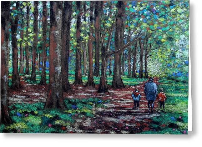 Textured Pastels Greeting Cards - Walk In The Park Greeting Card by John  Nolan