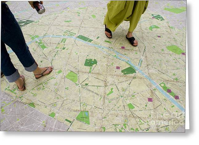 Main Street Greeting Cards - Walk-on Street Map In Paris Greeting Card by Mark Williamson