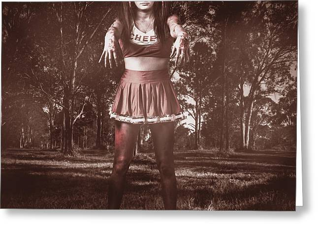 Walking Dead Schoolgirl Stumbling Back To School Greeting Card by Jorgo Photography - Wall Art Gallery