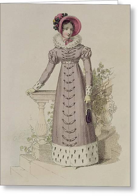 Collar Drawings Greeting Cards - Walking Dress, Fashion Plate Greeting Card by English School