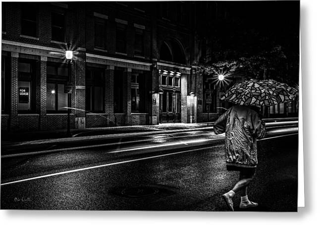 Walking In The Rain   Greeting Card by Bob Orsillo