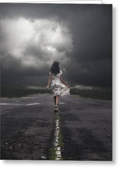 Dark Clouds. Greeting Cards - Walking On The Street Greeting Card by Joana Kruse