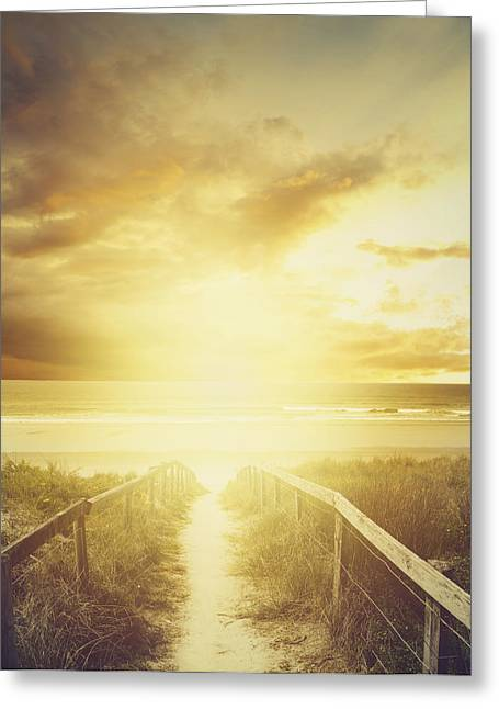 Beach Photograph Greeting Cards - Walkway to beach Greeting Card by Les Cunliffe