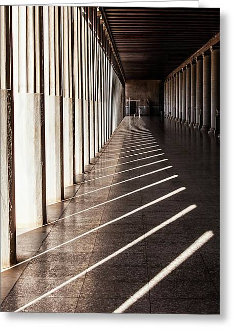 Walkway With Columns, Ancient Agora Greeting Card by Reynold Mainse