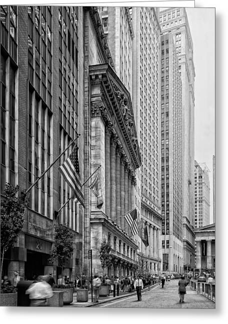 Wall Street Greeting Cards - Wall Street in New York City Greeting Card by Mountain Dreams
