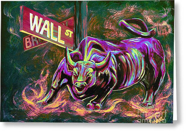 Stockbroker Greeting Cards - Wall Street Greeting Card by Teshia Art