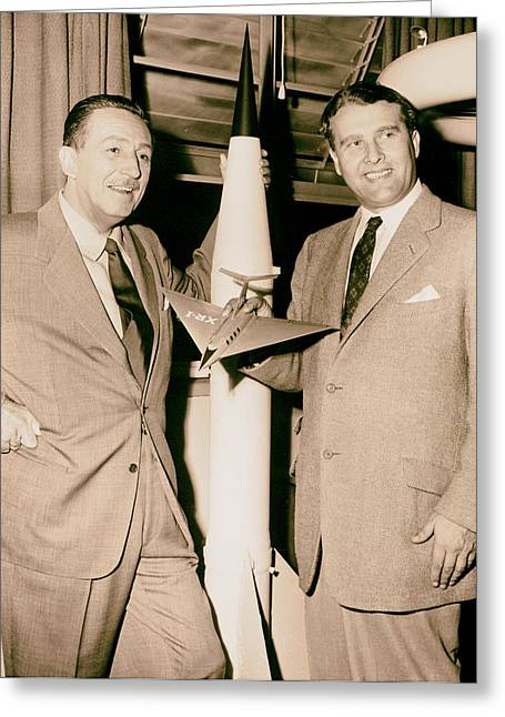 1950s Portraits Photographs Greeting Cards - Walt Disney and Dr Werner von Braun 1954 Greeting Card by Mountain Dreams