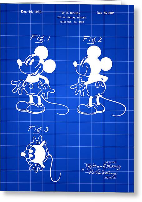 Steamboat Digital Greeting Cards - Walt Disney Mickey Mouse Patent 1929 - Blue Greeting Card by Stephen Younts