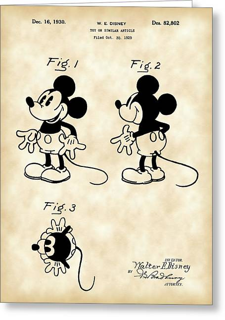 Invention Greeting Cards - Walt Disney Mickey Mouse Patent 1929 - Vintage Greeting Card by Stephen Younts