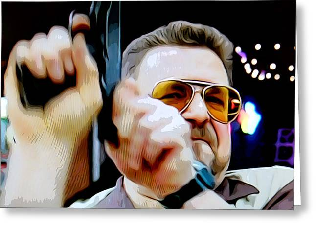 Big Lebowski Photographs Greeting Cards - Walter and The Gun Greeting Card by Guido Prussia