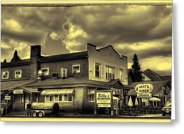 Old And New Greeting Cards - Walts Diner and Billys Restaurant Greeting Card by David Patterson