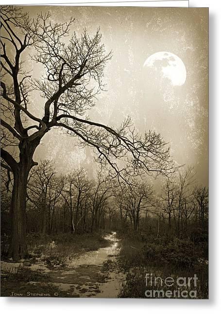 Winter Scenes Rural Scenes Greeting Cards - Everlasting Moon Greeting Card by John Stephens
