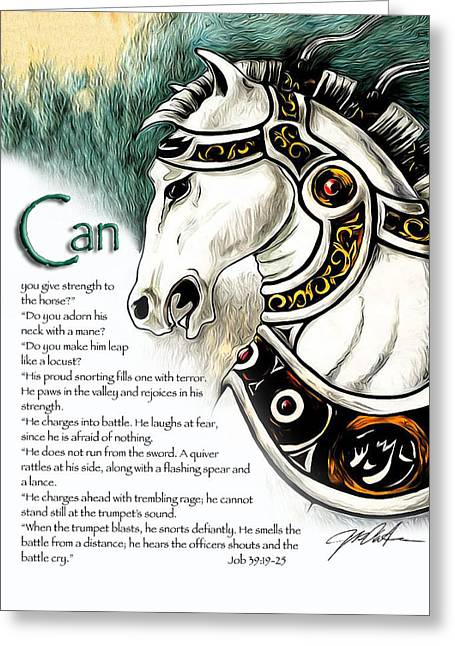 Bible Mixed Media Greeting Cards - War Horse Greeting Card by Ron Cantrell