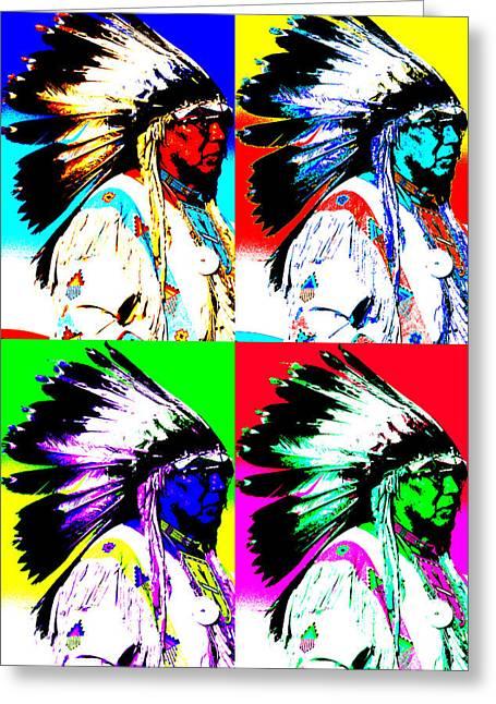 Indigenous Meeting Greeting Cards - Warhol Chief Greeting Card by Jeff Ferguson