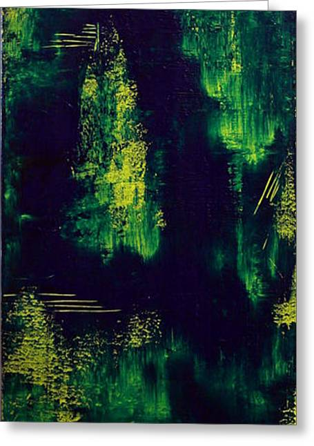Green And Yellow Abstract Greeting Cards - Warp Greeting Card by Candice Emery