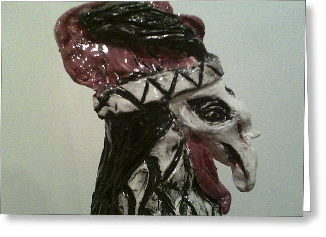 Ceramic Sculptures Greeting Cards - Warrior Rooster Greeting Card by Suzanne Berthier