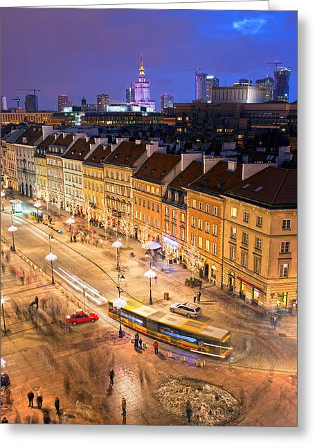 Citizens Greeting Cards - Warsaw at Night Greeting Card by Artur Bogacki