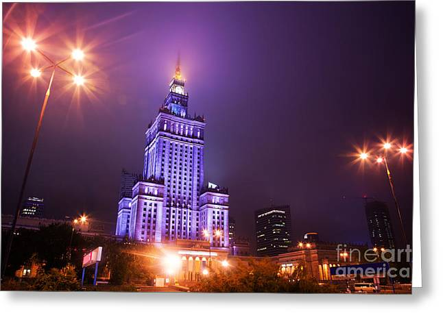 Polish Culture Greeting Cards - Warsaw Poland downtown skyline at night Greeting Card by Michal Bednarek