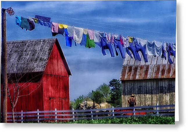 Washing Clothes Greeting Cards - Wash Day Greeting Card by Mountain Dreams