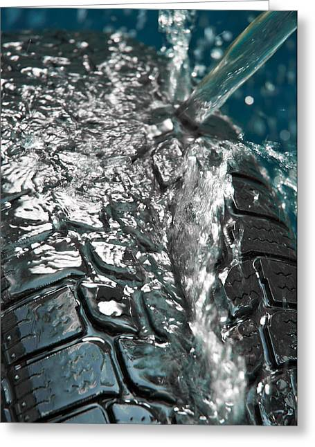 Gear Pyrography Greeting Cards - Washing tire on blue blurry background Greeting Card by Oliver Sved
