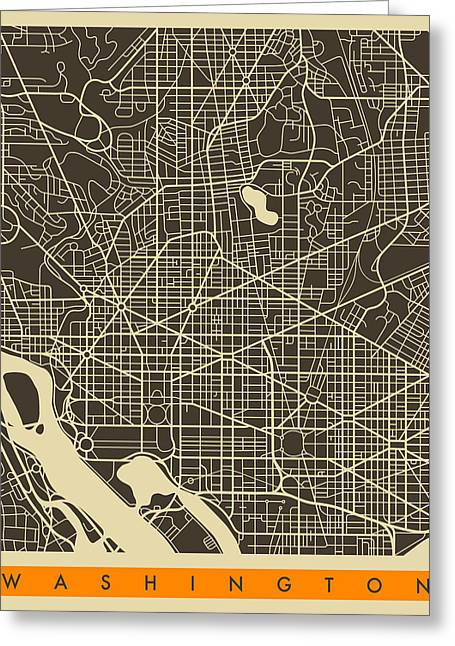 Washington D.c. Digital Art Greeting Cards - Washington Dc Map Greeting Card by Jazzberry Blue