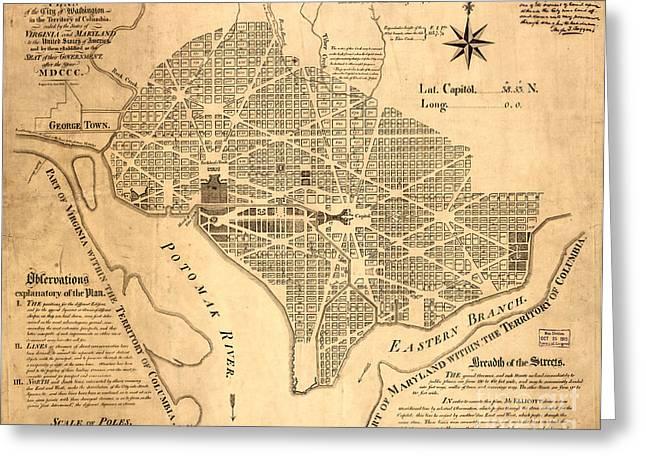 Washington Dc Vintage Map Greeting Card by Baltzgar