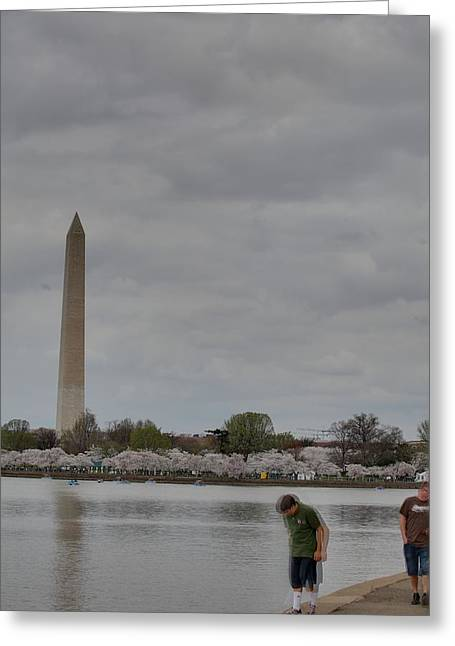 Outdoors Photographs Greeting Cards - Washington Monument - Cherry Blossoms - Washington DC - 011313 Greeting Card by DC Photographer