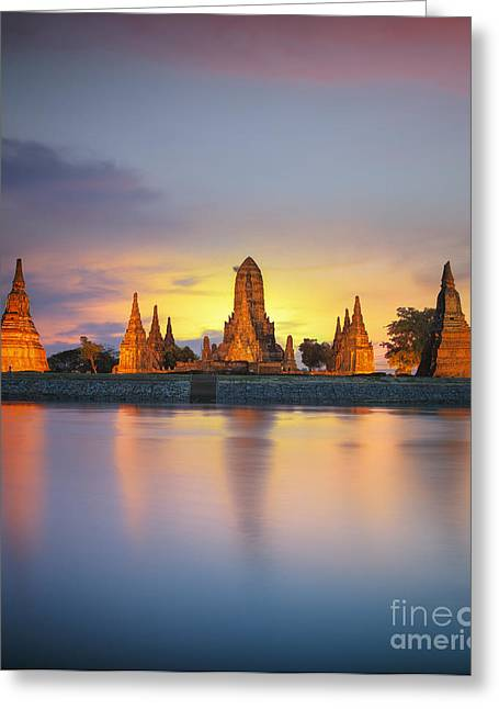 Ayutthaya Greeting Cards - wat Chaiwatthanaram Greeting Card by Anek Suwannaphoom