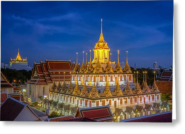 Religious Greeting Cards - Wat Ratchanaddaram and Loha Prasat Metal Palace Greeting Card by Anek Suwannaphoom