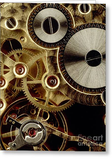 Best Sellers -  - Mechanism Photographs Greeting Cards - Watch mechanism. close-up Greeting Card by Bernard Jaubert