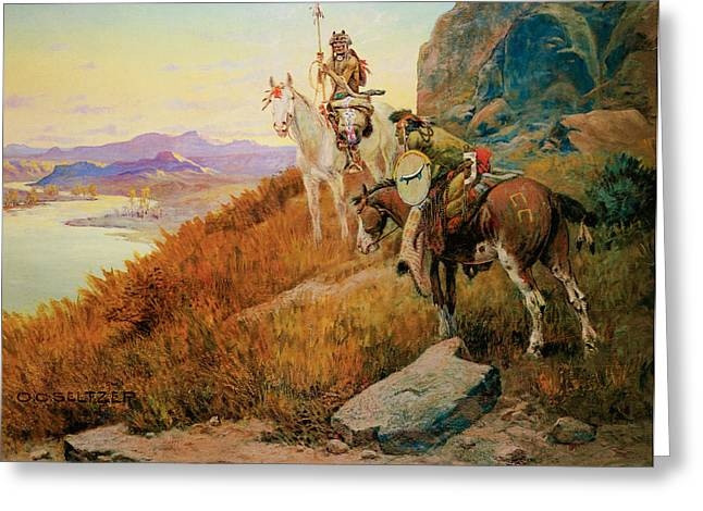 Indian Warriors Photographs Greeting Cards - Watching for the White Mans Boats Greeting Card by Olaf C Seltzer