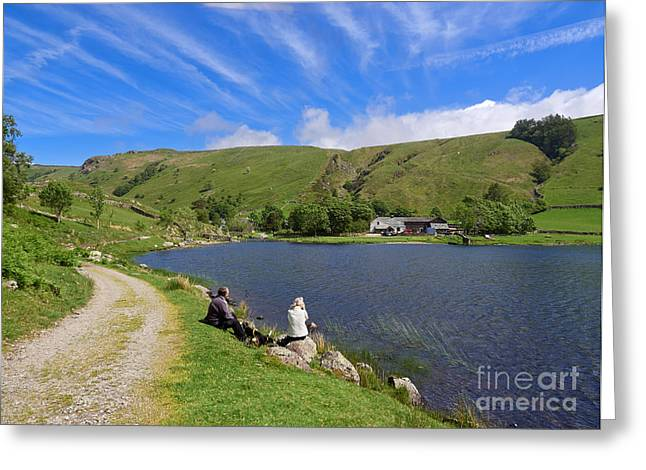 Dog Walker Greeting Cards - Watendlath Tarn in Lake District National Park Greeting Card by Louise Heusinkveld