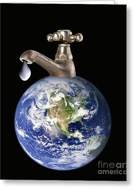 Concern Greeting Cards - Water Conservation, Conceptual Image Greeting Card by Victor de Schwanberg