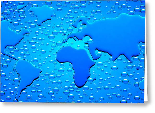 Planet Map Greeting Cards - Water Drops Forming Continents Greeting Card by Panoramic Images