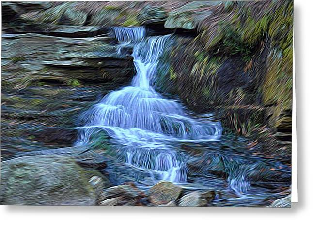 Ledge Mixed Media Greeting Cards - Water In Flow Motion Greeting Card by Douglas Miller