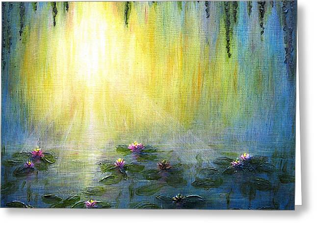 Willow Lake Greeting Cards - Water Lilies at Sunrise Greeting Card by Jerome Stumphauzer