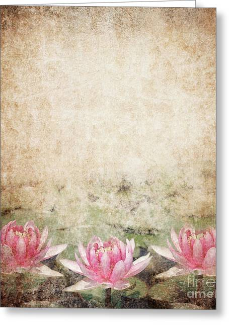Misty. Pyrography Greeting Cards - Water Lily Greeting Card by Jelena Jovanovic