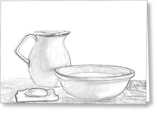 """indoor"" Still Life Mixed Media Greeting Cards - Water Pitcher and Basin Greeting Card by Linda Muir"