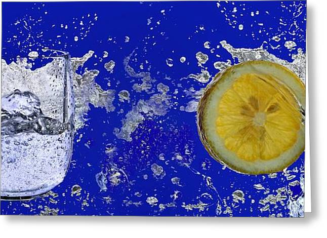 Waterglass Greeting Cards - Water Splash-Lemon Greeting Card by Manfred Lutzius
