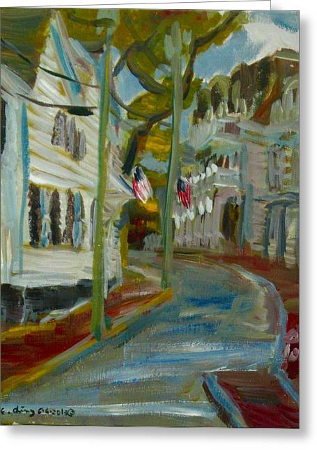 Clapboard House Paintings Greeting Cards - Water Street Edgartown Greeting Card by Edward Ching