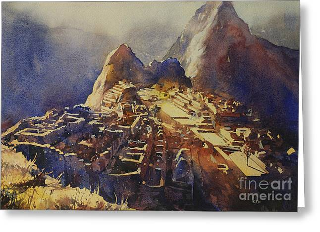 Paper Valley Greeting Cards - Watercolor painting Machu Picchu Peru Greeting Card by Ryan Fox