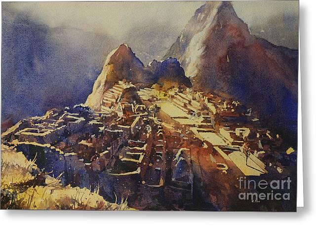 Watercolor Painting Machu Picchu Peru Greeting Card by Ryan Fox