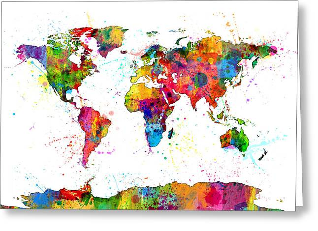 Watercolor Political Map Of The World Greeting Card by Michael Tompsett